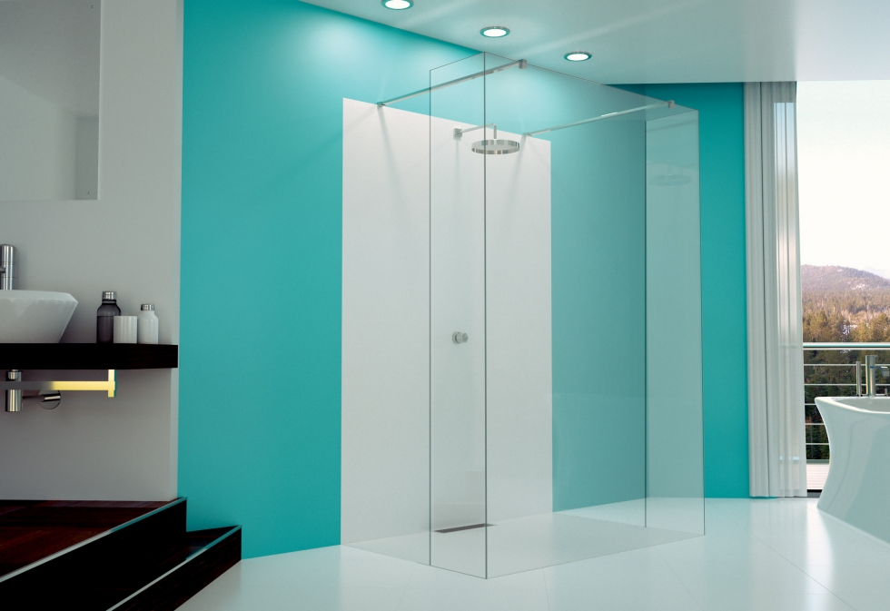 Glass By Merlyn Shower Panel with UV Bonded Return Panels
